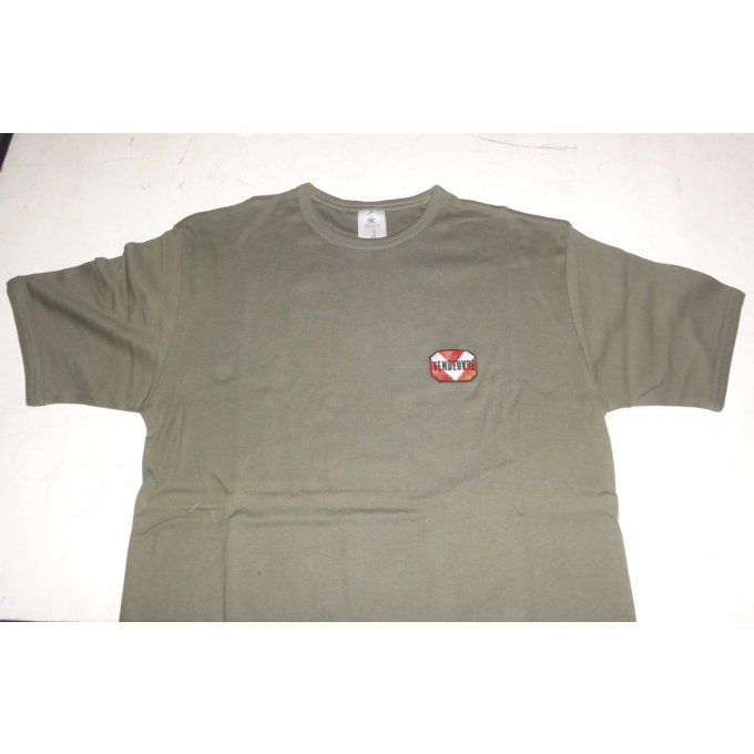 "P6003315 Tee-shirt vert olive broderie ""Vendeuvre"" taille XL"